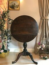 Antique Oak Georgian Tilt Flip Top Sidetable Pedestal Wine Table PICKUP NOTTS