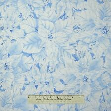 Christmas Fabric - Glitter Poinsettia White Blue Ice - Timeless Treasures YARD