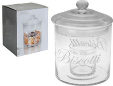 Stunning Very Large Glass Biscotti Jar with Glass Lid Cookies Sweet Jar