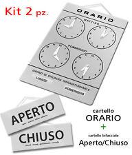 Kit vetrina ORARIO + APERTO e CHIUSO negozio studio laboratorio officina bottega