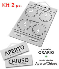 Kit vetrina ORARIO + APERTO/CHIUSO negozio/studio/laboratorio/officina/bottega
