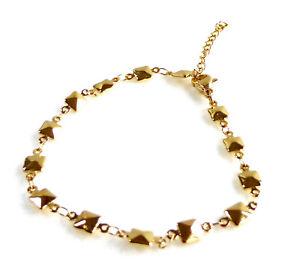 Women Square Bracelet 14K Yellow Gold Plated 17cm 20cm Adjustable lobster Clasp