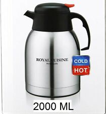 2.0 Litre Flask Thermos Stainless Steel vacuum Jug Hot & Cold Silver & Black
