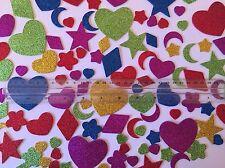 110 Adesivi in Schiuma Glitter-Cuore/luna/stelle/fiori/Diamanti-glitterate 1.5-5.5cm