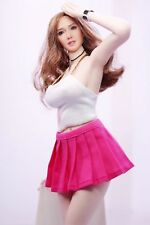 "1/6 Female White Wrapped Chest Suit & Pink Pleated Skirt F 12"" Figure Body Model"