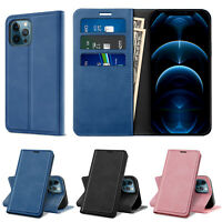 For iPhone 12 Pro Max/12/Pro/12 Mini Case Leather Card Wallet Holder Stand Cover