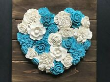 Wood Heart, Blue and White Heart with Wood Flowers, Farmhouse Decor, Country