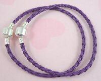 10pcs Purple Charm Leather Bracelets Fit European Beads 18cm P11-10