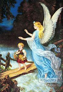 Guardian Angel I by Lindberg Heilige Schutzengel (Art Print of Vintage Art)