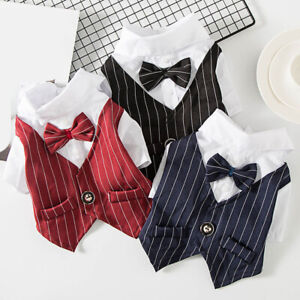 Dog Wedding Suit Formal Shirt For Small Dogs Tuxedo Bowtie Dog Clothes For Pet