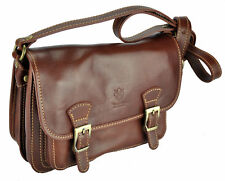 BNWT small briefcase + strap in genuine strong leather hand MADE IN ITALY BROWN