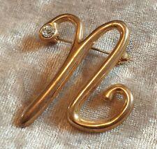 GOLD Tone N iniziale strass spilla bavero pin badge Bigiotteria