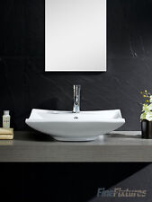 Fine Fixtures 24x17 Square Bathroom Vessel Sink-Vitreous China -MV2417W