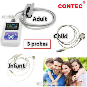 FDA-CE-CONTEC-Finger-Pulse-Oximeter-CMS60D-3-Probes-Adult-infant-child-hot new