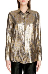 NWT Dries Van Noten Clavelly Fil Coupé Lamé Metallic Shirt SZ 36 $1060 SOLD OUT!