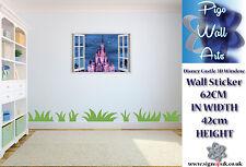 Disney pared calcomanía adhesivo Fantasía Castle 3D Efecto Ventana Para Dormitorio De Niños.