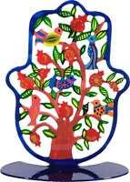 Yair Emanuel Stand Hamsa with Colorful Birds Kabbalah Home Protection