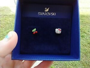 Hello Kitty Fruit Pierced Earrings By Swarovski NIB FAST US SHIPPER!