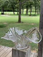 Mikasa Parisian Ivy Handkerchief Bowl Clear Lead Crystal, Frosted Leaves Perfect