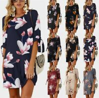 Plus Size Women Holiday Floral Party Dress Ladies Summer Beach Long Tops UK 6-22