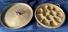 More details for vintage solid brass chinese moon cake mold & lid 21 cm (heavy)