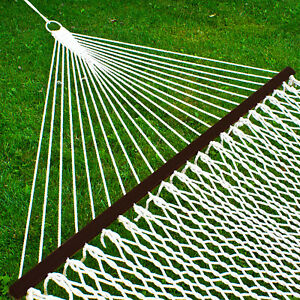 Cotton Rope Double Hammock With Accessories Durable Comfort Relaxing Setup White