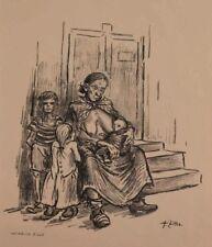 Heinrich Zille  Original-Lithographie  Hunger 1924