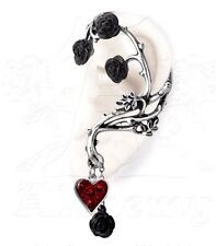 Bed of Blood Roses Romance Red Heart Earring Ear Wrap Cuff E329 Alchemy Gothic