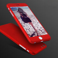 360° Full Body Hard Ultra thin Cover & Tempered Glass Case For iPhone 7 8 Plus