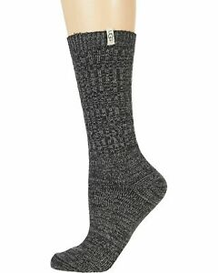 UGG Rib Knit Grey / Black Women's Slouchy Crew Socks 1014832