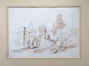 Possibly by JOHN PIPER Wingfield Manor Matlock Original Ink Watercolour Painting
