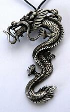 **BEAUTIFUL ORIENTAL / CHINESE PEWTER DRAGON - PENDANT / NECKLACE**