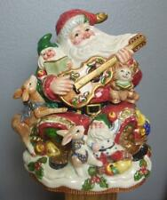 Vintage Fitz & Floyd Cookie Jar 1996 Guitar Elves Deer Hand Painted