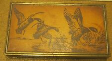 1950's PARK SHERMAN Cigarette Box LEATHER DUCK INSERT on Lid CORK Intact!!