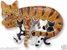 Kitty Cat with Kittens Pin 925 Sterling Silver Hand Painted Enamel Gift Boxed