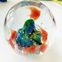Avita Glass Paperweight Fish Aquarium Seascape Blue Green Orange