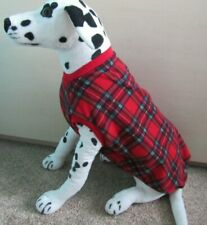"3XL Polar Fleece Dog Coat/Jumper/vest. 29"" L, 34"" W, 18"" Red Tartan"