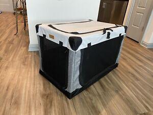 Akinerri Folding Soft Dog Pet Crate Kennel Gray 3 Doors Medium Size 30 Inch