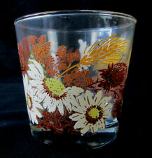 4 Vintage Drinking / Water Juice Glasses / Tumblers Wheat & Floral Design