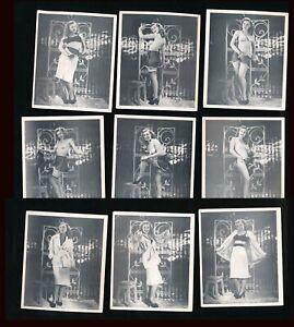 1950s Lot of Nine Original Nude Striptease Litho Photo Card Set vv