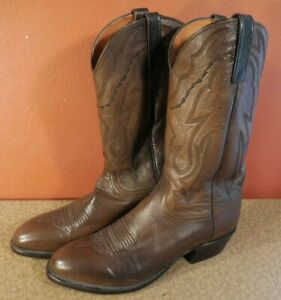 Lucchese 2000 Cowboy Western Brown Leather Boots Men's 10 1/2 Texas Made USA