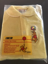 NOS Vintage Sears Winnie the Pooh Bear Infant Sleeper Sleep & Play Footed Yellow
