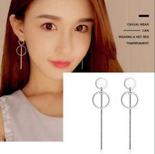 Korean Fashion 925 Silver Women Circle Long Drop Dangle Earrings Jewelry Gifts