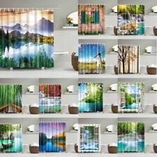 Nature Scenery Art Waterproof Shower Curtain Bathroom Decor Curtain with Hooks