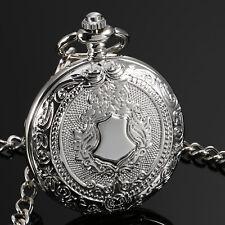 Hand Winding Silver Case Shield Fob Ess Mechanical Men Pocket Watch Full Hunter