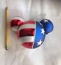 Disney Mickey Mouse Ears Glass Christmas Ornament Patriotic Red White Blue Stars