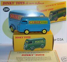 DINKY TOYS ATLAS FOURGON PEUGEOT D3A CIBIE BLEU REF 25BV 1/43 IN BOX no poste