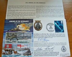 50th ANNIVERSARY SINKING OF THE BISMARK SIGNED BY E.S CARVER & F.A SWANTON COVER