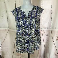 DANIEL RAINN WOMEN'S FLORAL BLUE AND WHITE BLOUSE SIZE S