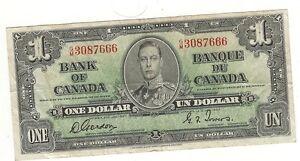 CANADA ONE DOLLAR BILL - 1937- CIRCULATED